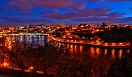 Douro river night view in Porto stock photo