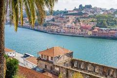 Douro river, palm tree and Porto Oporto town Royalty Free Stock Photos