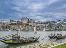 Douro river in Port. Port boats in bay on Douro river porto Portugal Royalty Free Stock Photos