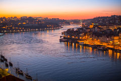 Douro River at Porto by night Stock Images