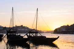 Douro river in Porto. Sunset view of traditional boats and Douro river in Porto, Portugal Royalty Free Stock Photography