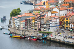 Porto, Portugal - July 2017. The Douro River and the Ribeira District which is the most famous part of Porto Royalty Free Stock Images