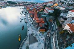 Douro river and Ribeira at dusk, Porto. Royalty Free Stock Images