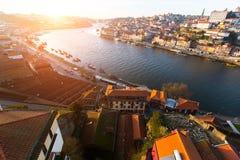 Douro river and Ribeira, Porto Stock Photos