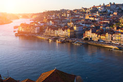 Douro river and Ribeira at sunset, Porto. Douro river and Ribeira at sunset, Porto, Portugal stock images