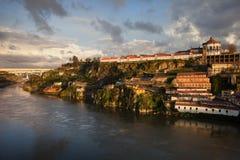 Douro River at Sunset along Vila Nova de Gaia Royalty Free Stock Photo