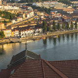 Douro river, top view of the side of Vila Nova de Gaia. Stock Photos
