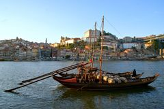 Douro river and traditional boats in Oporto stock photos