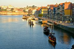 Douro river and traditional boats in Oporto royalty free stock image