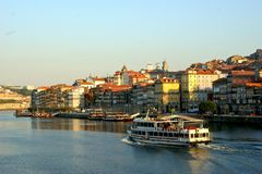 Douro river and traditional boats in Oporto stock photo