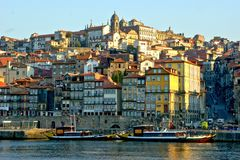 Douro river and traditional boats in Oporto royalty free stock images