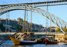 Douro river and traditional boats in Oporto stock photography