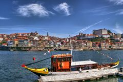 Douro river and traditional boats in Porto Royalty Free Stock Photography