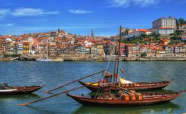 Douro river and traditional boats in Porto Royalty Free Stock Images