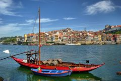Douro river and traditional boats in Porto Royalty Free Stock Photos