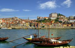 Douro river and traditional boats in Porto Stock Image