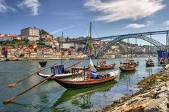 Douro river and traditional boats in Porto Stock Photography