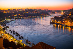 Douro river view from above at dusk. Porto Royalty Free Stock Image