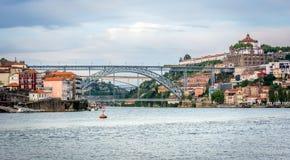 Douro river. View to the Serra do Pilar Monastery and Luis I bridge. Royalty Free Stock Photography