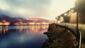 Douro rzeka w ranek mgle, Oporto obrazy royalty free