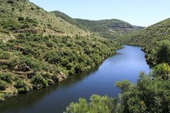 Douro Valley – Tributary Coa River. View of the Coa River, a tributary belonging to the Douro catchment in Portugal stock image