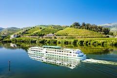 Douro Valley. Cruise ship at Peso da Regua, Douro Valley, Portugal stock photography