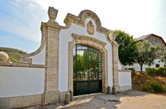 Douro Valley: Historic archway in front of a vineyard near Pinhao, Portugal Royalty Free Stock Photos