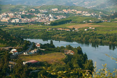 Douro Valley. Top view of river, and the vineyards are on a hills. Portugal royalty free stock image