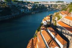 Douro Vila Nova De Gaia od Dom Luis Porto i rzeka, przerzucam most Zdjęcie Stock
