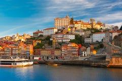 Dourorivier en Dom Luis-brug, Porto, Portugal Royalty-vrije Stock Fotografie