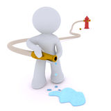 Dousing the fire. Hydrant, hose and water puddle. Aadmii handling a water hose.Concept image with white background Stock Photos