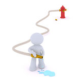 Dousing the fire. Hydrant, hose and water puddle. Aadmii handling a water hose.Concept image with white background Stock Image