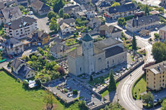 Doussard, France. Doussard church from the air Stock Image