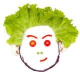 Doutant, tête humaine sceptique faite de légumes Images libres de droits