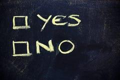 Doutes : choix entre oui ou non Images libres de droits
