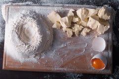 Douth, nourriture, faisant cuire le concept - préparant le douth - cuisson des progres Image stock