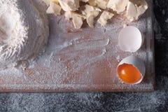 Douth, nourriture, faisant cuire le concept - préparant le douth - cuisson des progres Photos stock