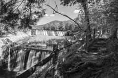 Douthat Lake Upper and Middle Dams and Spillway Stock Photo