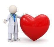 doutor 3d com um ícone vermelho grande do coração Imagens de Stock Royalty Free
