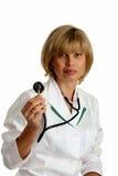 Doutor bonito com estetoscópio Fotografia de Stock