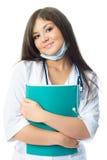 Doutor bonito com um dobrador Imagens de Stock Royalty Free