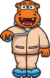 Doutor Cartoon do hipopótamo Fotos de Stock