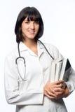 Doutor caucasiano com livros fotos de stock
