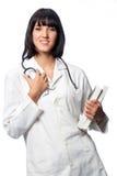Doutor caucasiano com livros Fotos de Stock Royalty Free