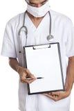 Doutor com bandeira em branco Fotografia de Stock Royalty Free