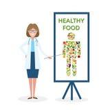 Doutor com a bandeira saudável do alimento ilustração do vetor