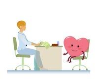 Doutor com desenhos animados alegres saudáveis do símbolo do coração - dia de saúde de mundo Imagens de Stock Royalty Free