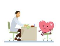 Doutor com desenhos animados doentes do símbolo do coração - dia de saúde de mundo Fotografia de Stock Royalty Free