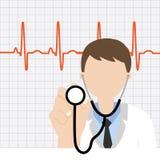 Doutor com estetoscópio e pulsação do coração Imagem de Stock