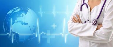 Doutor com fundo médico Fotografia de Stock